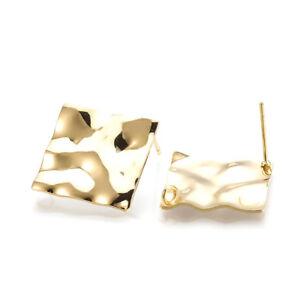 e3615e997 Image is loading 10pcs-Gold-Plated-Brass-Rhombus-Earring-Posts-Bumpy-