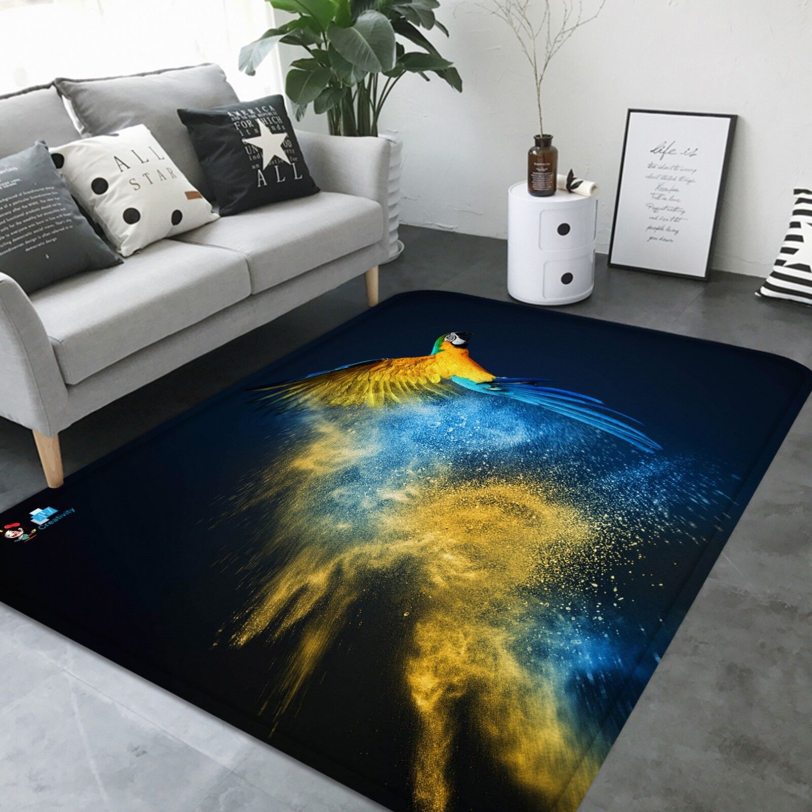 3D Parrosso Animal 004 Non Slip Rug Mat Quality Elegant Photo Carpet US Carly