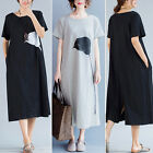 ZANZEA Women Short Sleeve Round Neck Casual Vintage Print Long Shirt Dress Plus