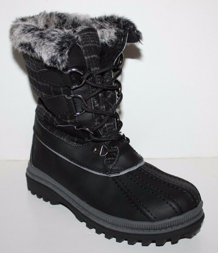 GH Bass NIB donna nero Plaid Winter Duck Snow stivali w  Fur Lining