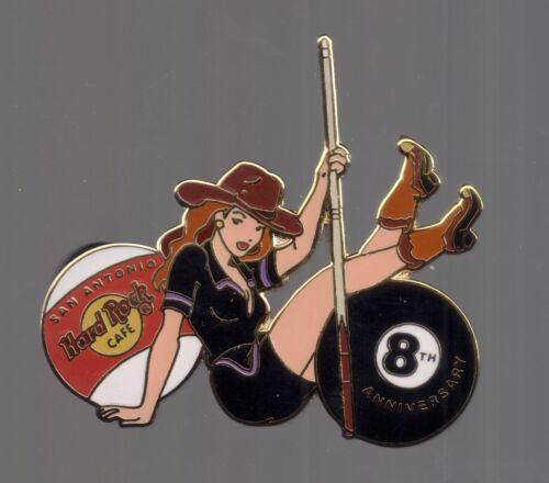 2003 San Antonio Hard Rock Cafe Pin HRC 8th Anniversary Pool Cue Girl  LE 2200