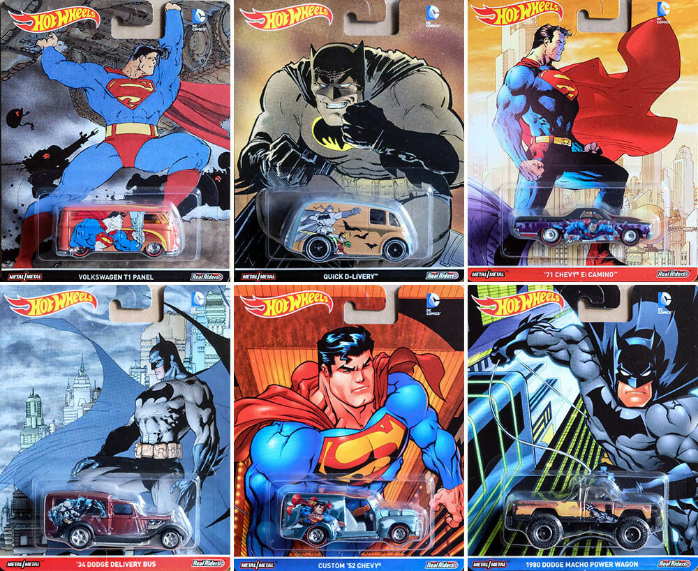 DC Comics Batman & Superman Set 6 Modellautos Pop Culture 1 64 Hot Wheels DLB45    Verschiedene Stile