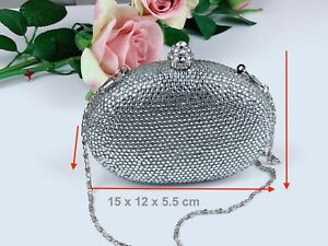 Pochette scintillanti design cristalli sera argento di nuovo da con scintillante in cKJTlF13