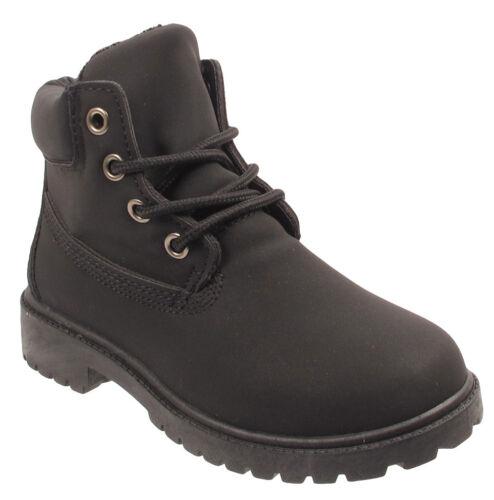 Enfants bottines filles garçons fourrure doublé Kids Army Combat Hiver Neige Chaussures