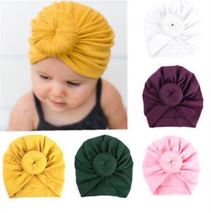 Baby-Indian-Twist-Knot-Bonnet-Chemo-Turban-Cap-Beanie-Hat-Head-Scarf-Wrap-Solid