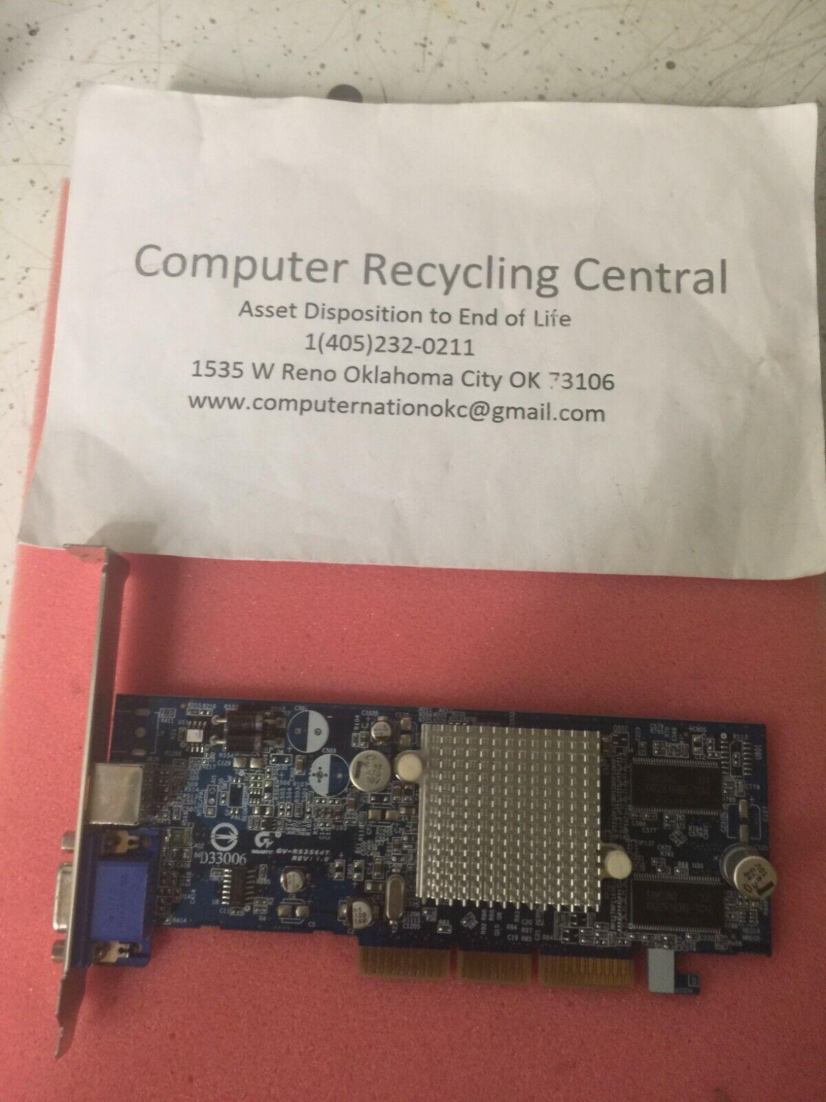 Gigabyte AGP Video Card D33006 GV-R92S64T 64 MB