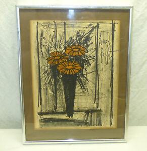 Vtg Bernard Buffet Framed Flower Lithograph Print ...