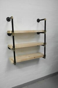 Steampunk-Shelf-Shelving-Bookcase-Made-From-Black-amp-Brass-Pipe-Fittings