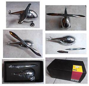 TROIKA-elicottero-fermacarte-vintage-metallo-acciaio-cromato-penna-e-apribusta