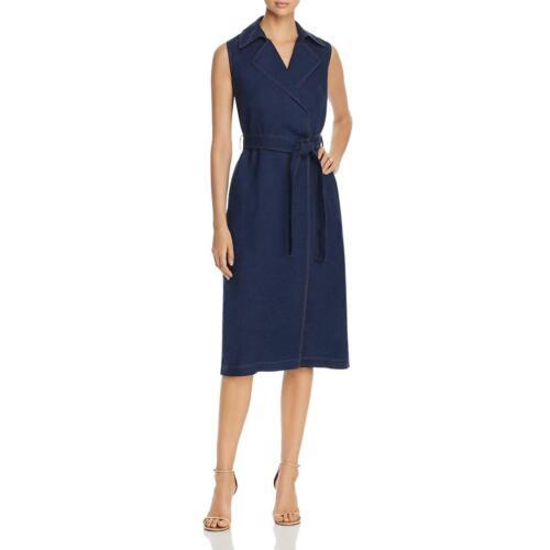 La Fayette 148 Womens Florence Linen V-Neck Sleeveless Midi Dress BHFO 7705