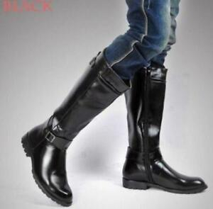 browse latest collections pretty and colorful best prices Details about Mens Knee High Combat Military Boots Leather Side Zip Buckle  Riding Motor Shoes