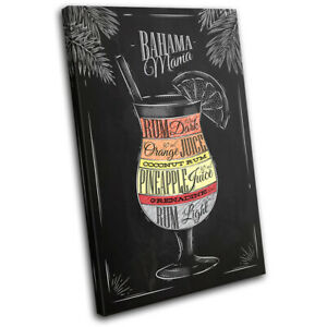 Bahama-Mama-Cocktail-Alcohol-Vintage-SINGLE-CANVAS-WALL-ART-Picture-Print