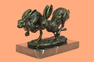 Solid-100-Bronze-Hare-Sculpture-LARGE-Running-Hares-by-Mario-Nick-Hot-Cast-Sale