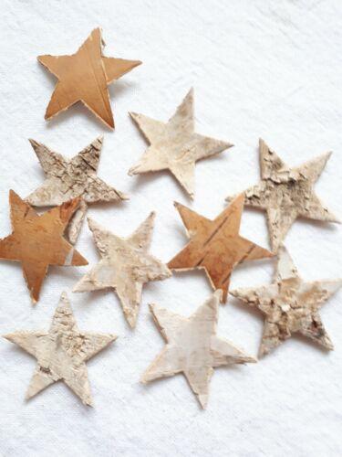 10 x Sterne Birkenrinde natur Landhaus für Weihnachtsdeko Adventskranz 3,8 cm