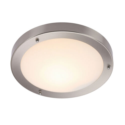 Saxby 12421 Portico Satin Nickel Dimmable Flush Fit Bathroom Ceiling Light Ip44 Ebay