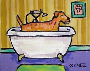 BICHON FRISE taking a bath bathroom  dog art print 8.5x11