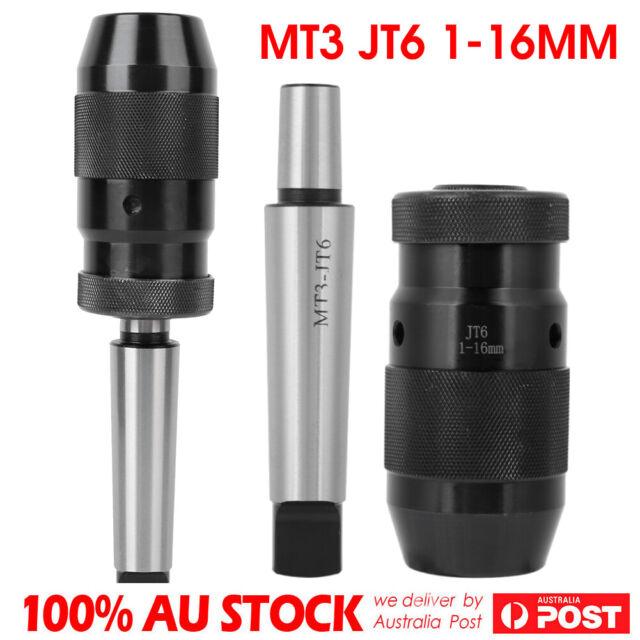 MT3 JT6 1-16MM Keyless Precision Self Tighten Lathe Drill Chuck & Adaptor AU