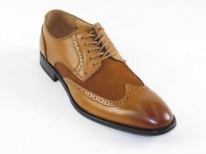 Mens-La-Milano-Suede-Leather-Shoes-Oxford-Classic-Wing-Tip-Dress-A11408-Cognac