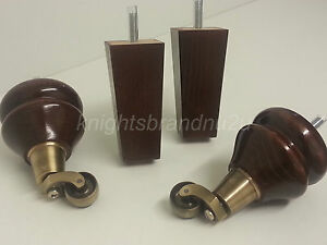 Image Is Loading 4x Wooden Feet With Antique Brass Castors Furniture