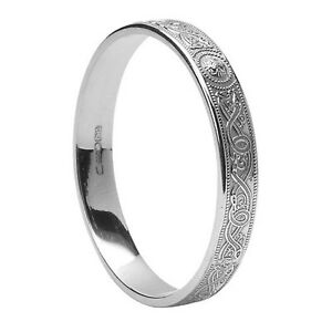 14k white gold irish celtic warrior shield wedding ring for Irish jewelry stores in nj