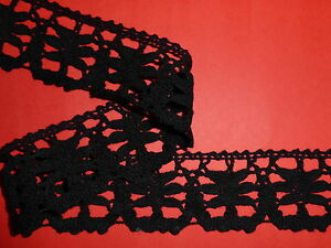 "3 METRES Top Quality Black Cotton Cluny Crochet Lace Trim 1.75""/4.5cm Sewing"