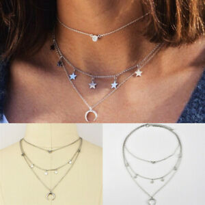 Multilayer-Women-Alloy-Clavicle-Crystal-Star-Moon-Choker-Necklace-Chain-Jewelry