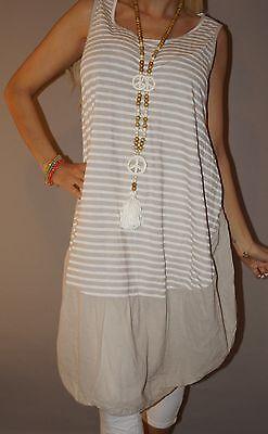 Italy Kleid Long Top Streifen Blogger Strand Tunika Ballon M 38 - 44 XL Beige
