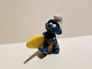Smurfs-20137-Surfer-Smurf-Figure-Surf-Board-Vintage-Toy-PVC-Surfing-Figurine-80s