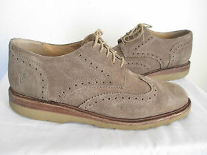 db5955cc6799 Frye Jim Wedge Men s Wing Tip Grey Suede Lace-Up Oxfords Shoes Size ...