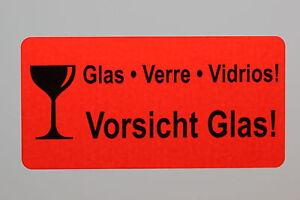 50-x-kleines-Etikett-VORSICHT-GLAS-51x25-mm-Aufkleber-50-Stueck-NEU
