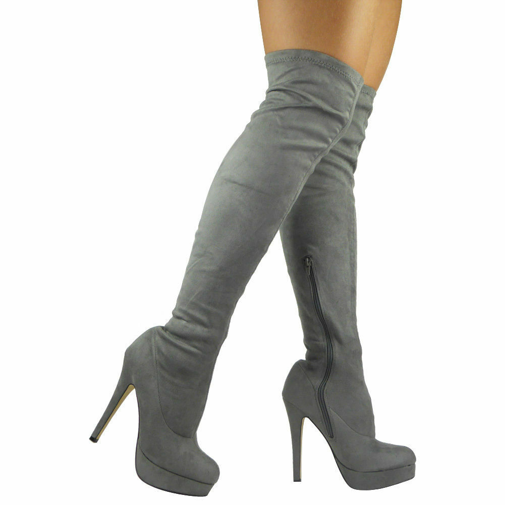 Mujer Thigh High botas Ladies Stretchy Over Plain The Knee Long Plain Over Heel Zapatos Talla 779aef
