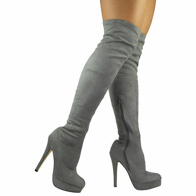 Womens Ladies Stretchy Thigh High Over The Knee Long Plain Heel Boots Shoe Size