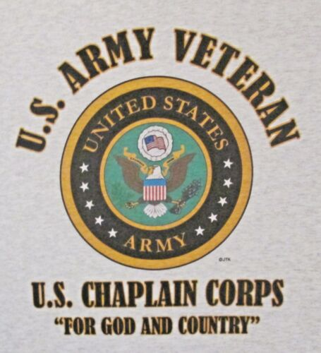 """ARMY CHAPLAIN CORPS/""""FOR GOD AND COUNTRY*U.S.ARMY VET W//ARMY EMBLEM*SHIRT"""