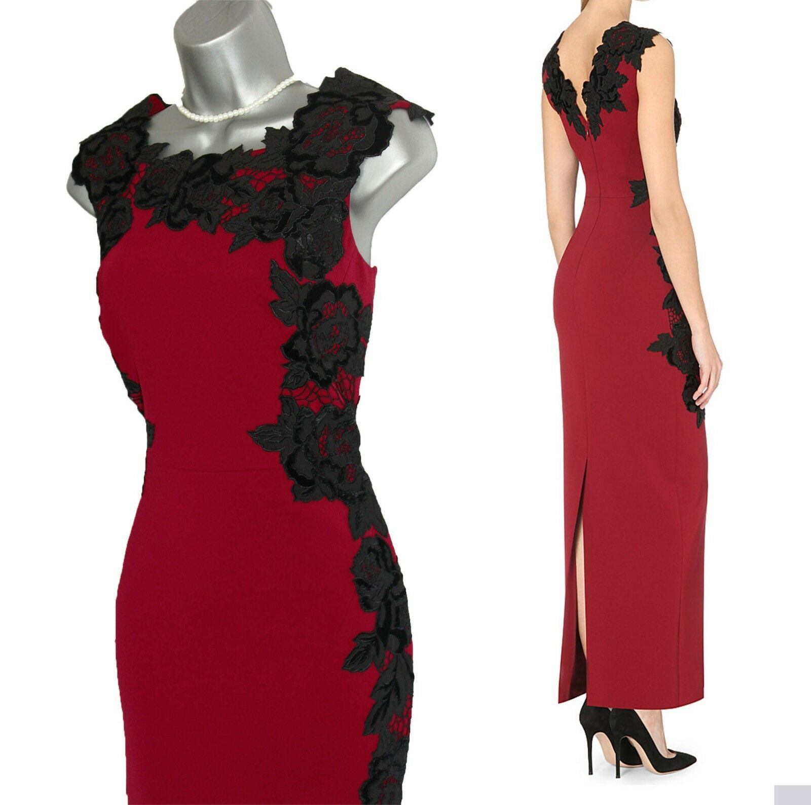 KAREN MILLEN Stunning Velvet Floral Applique Maxi Party Dress UK10 BNWT