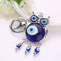 Special Blue Good Luck Keychain Turkish Evil Eye Protection Owl Design Keyrings