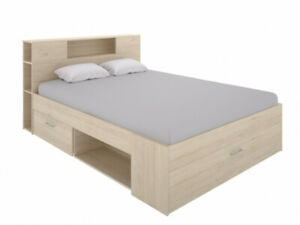 Lit LEANDRE avec tête de lit rangements et tiroirs - 160x200 cm - Coloris : Chên