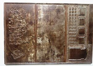 Antique Carved Graphic Emboss die Mold Forged Iron Plate Elephant procession