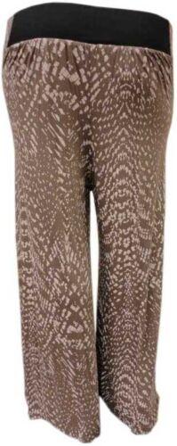 LADIES ANIMAL PRINT MOCHA WAIST BAND PALAZZO TROUSERS FLARED BOTTOM PANTS 14-26