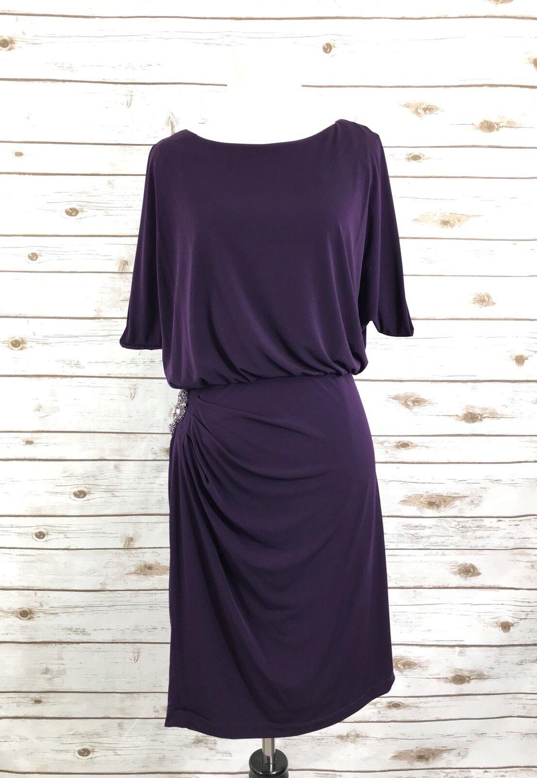 Eliza J Purple Jeweled Blouson Dress Sz 6