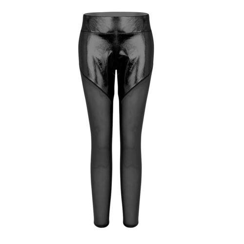 Para mujeres cintura alta de malla metálica Leggings Pantalones Fitness Yoga Deporte Gimnasio Pantalones