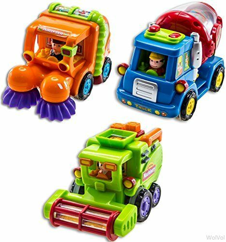 Push and Go Friction Powered Car Toys for Boys WolVol Set of 3