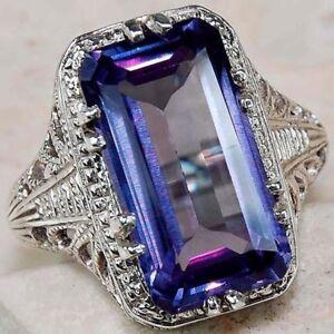 925-Sliver-Jewelry-Men-Women-Fashion-Blue-Sapphire-Engagement-Ring-Size-6-10