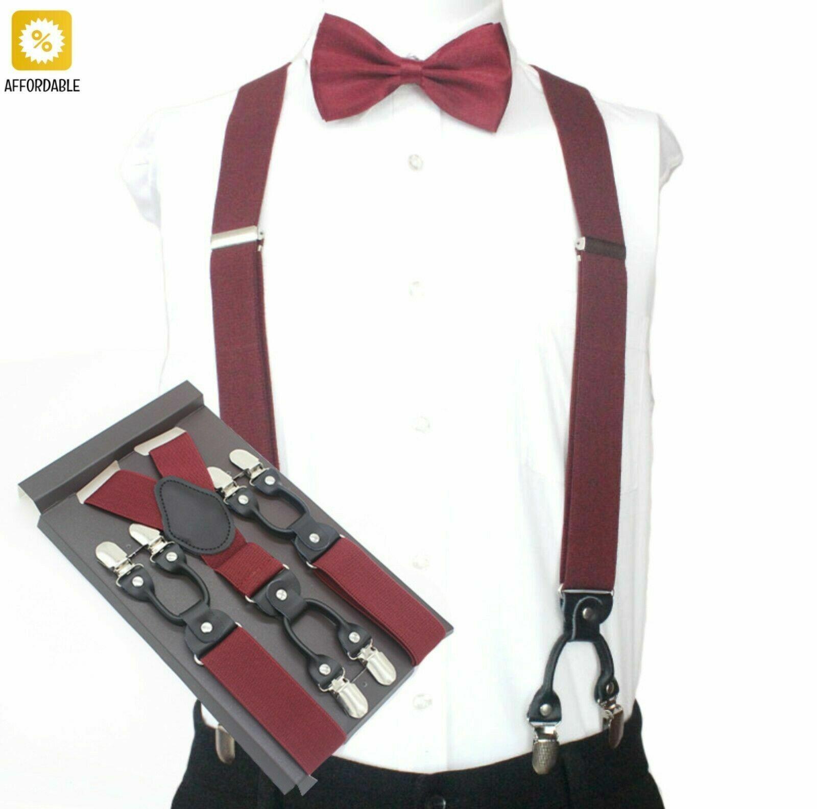 Vintage Suspenders Adult Casual 6 Clips Gestreifte Hosenträger Western Men...