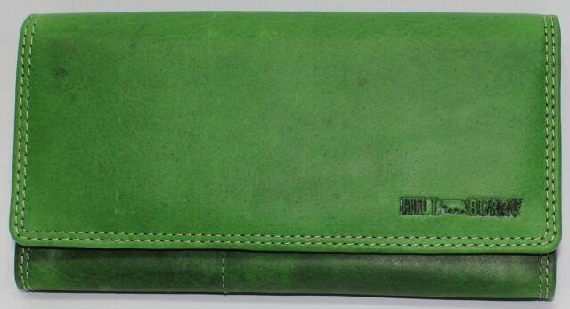 Echt Leder Damengeldbörse Geldbörse Geldbeutel Portemonnaie Grün Neu Hill Burry