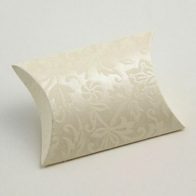 Pillow Shaped Ivory Floral Baroque Design Favour Box Wedding Gift Jewellery