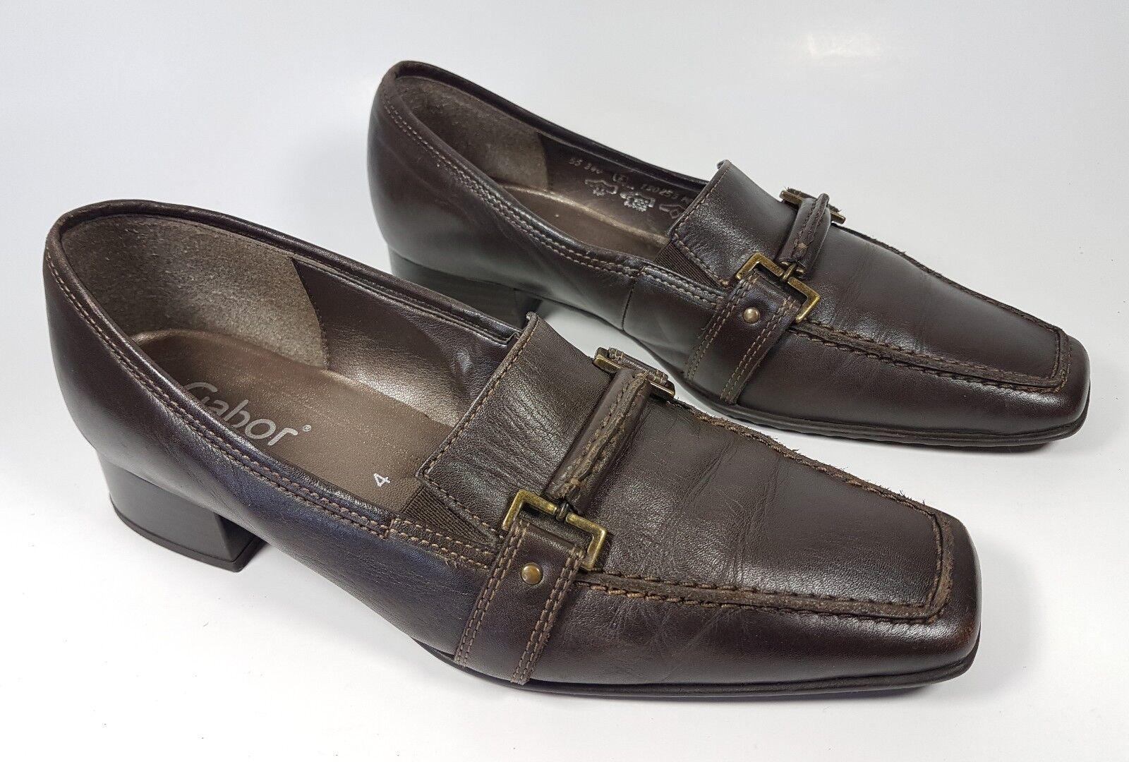 Gabor brown leather low block heel shoes uk 4 eu 37 super condition