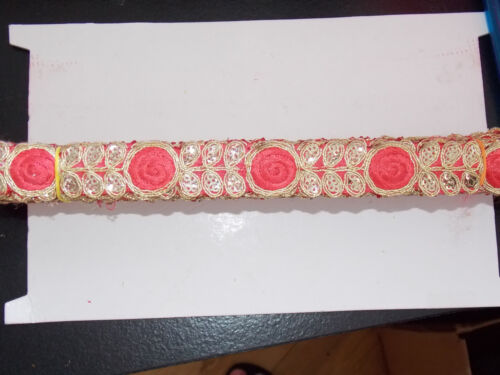 1m coral gold sequin indian arabic ribbon braid trim lace bridal trimming