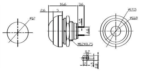 Vert Etanche Interrupteur-poussoir Bouton Normalement Ouvert SPST-pour 13 mm trou