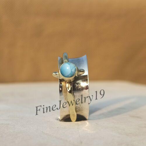 RS72 Larimar Ring 925 Sterling Silver Spinner Ring Mediation Designer Jewelry