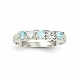 .925 Sterling Silver Light Blue & White Cz Ring L7mdeqpv-07224914-425993318